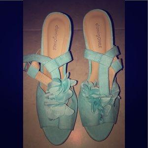 Tiffany Blue Teal Suede Platform Dress Heels